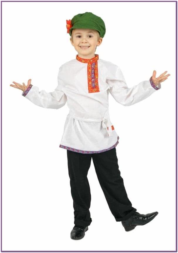 Белая льняная косоворотка для детей