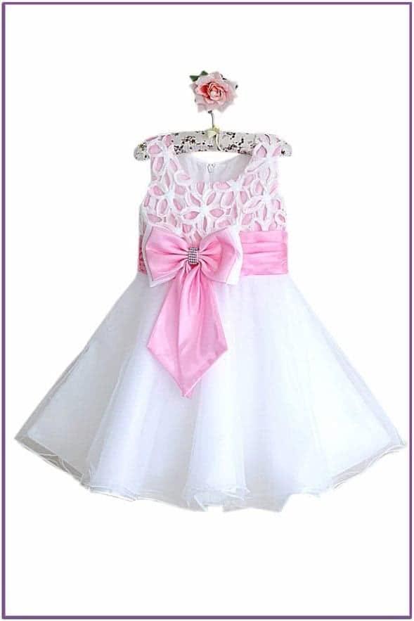 Бело-розовое платье