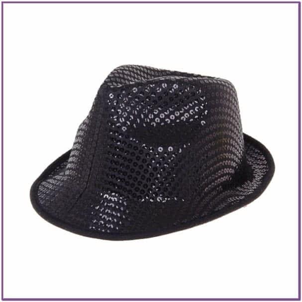 Черная шляпа с пайетками