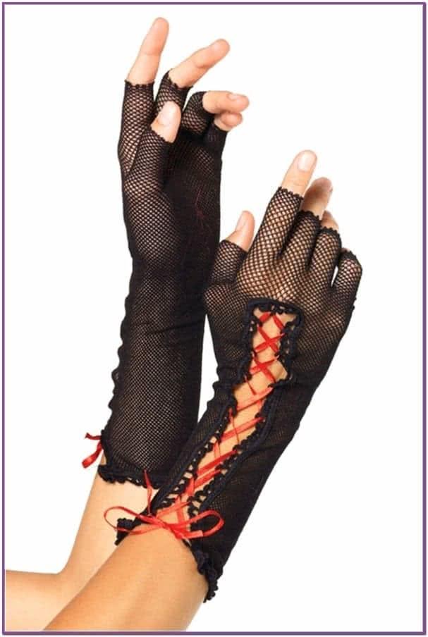 Черные перчатки со шнуровкой