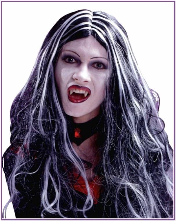 Черно-белый вампирский парик