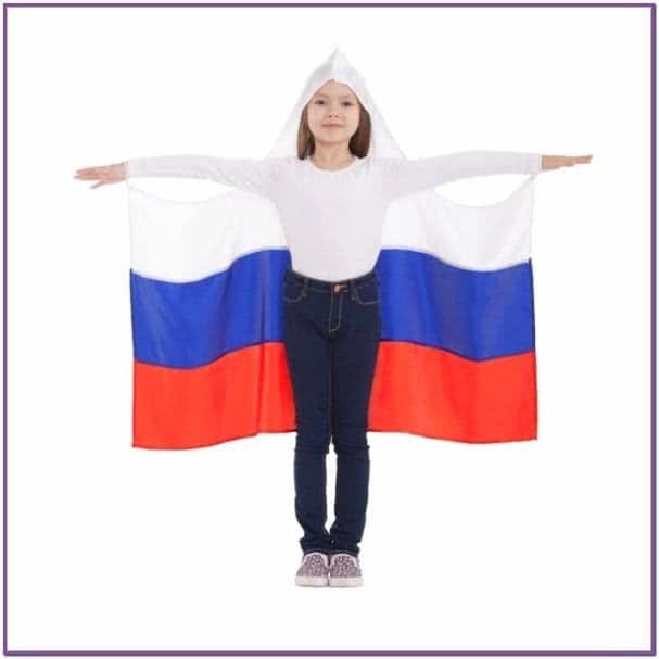 Детская накидка Россия с капюшоном