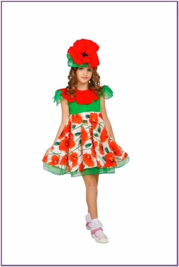 Детский костюм Цветка Мака