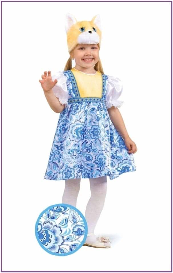 Детский костюм кошечки в стиле гжель
