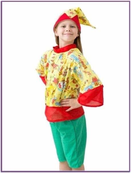 Детский костюм Петрушки для девочки