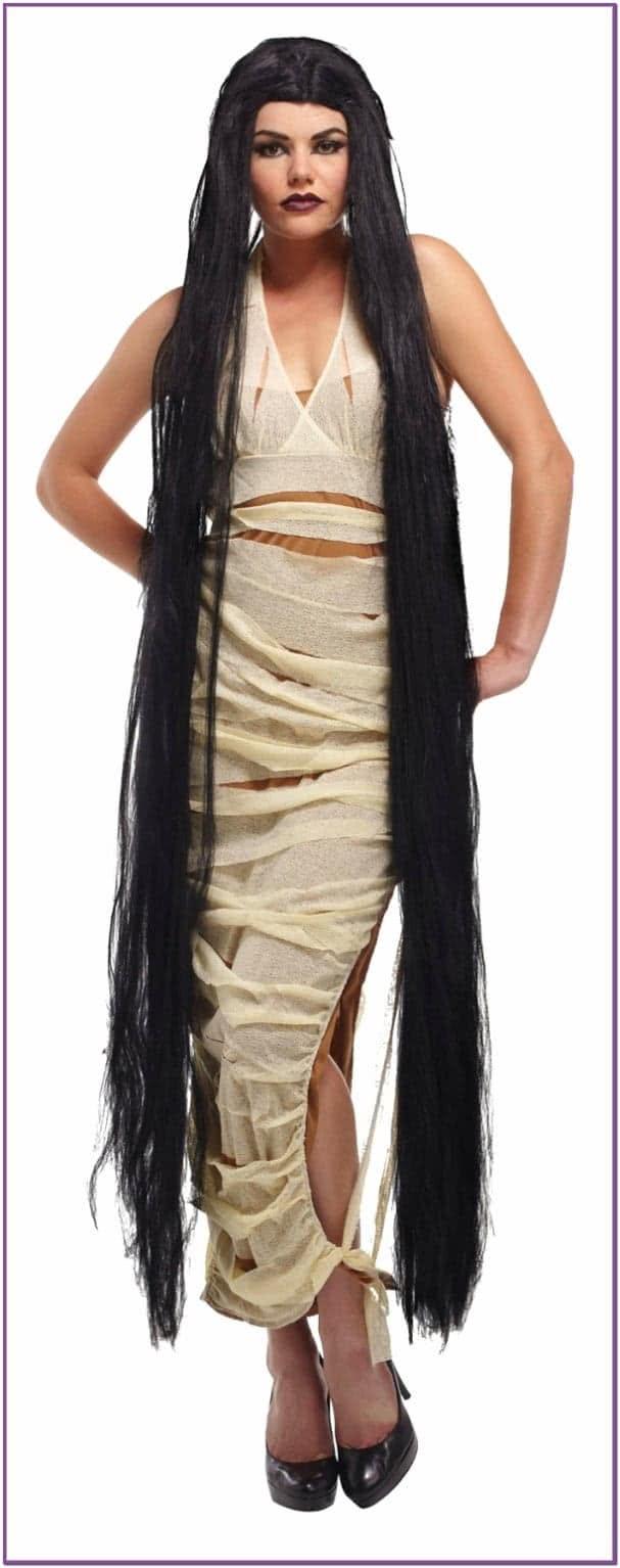 Длинный черный парик 150 см