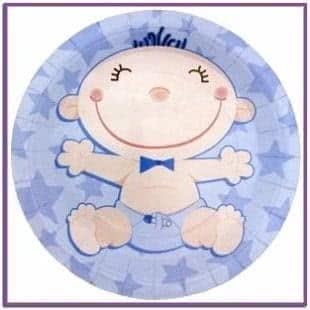 Голубые тарелки С днем рождения Малыш