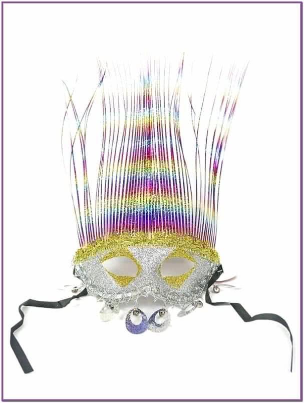Карнавальная маска серебряная Фаринелли