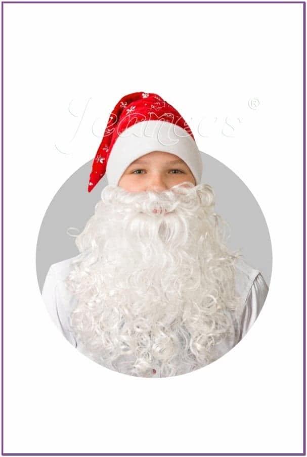 Колпак красный плюшевый с бородой