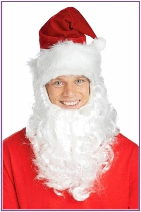 Колпак Санта Клауса с бородой