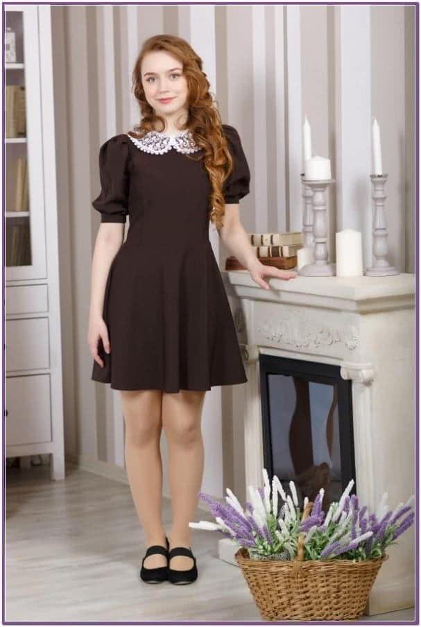 Коричневое платье Фонарик