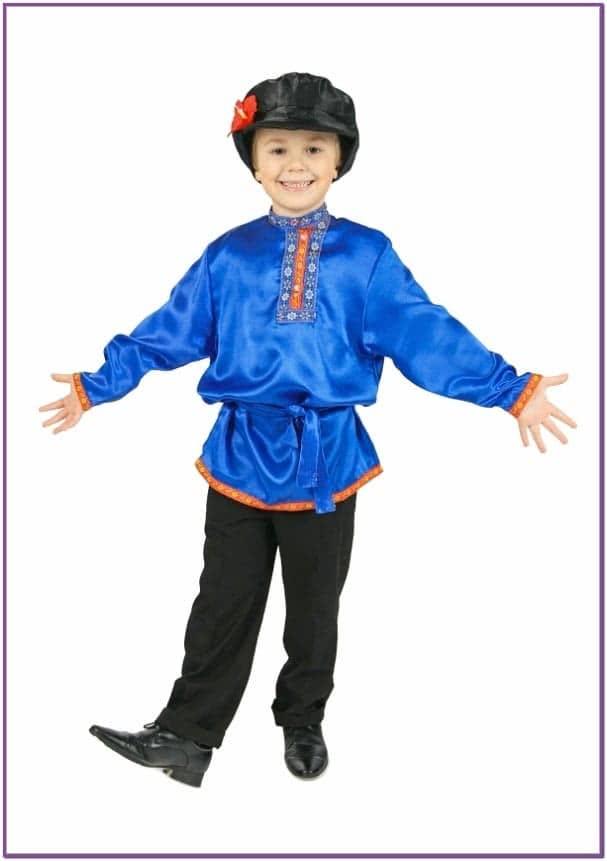 Косоворотка для детей синяя