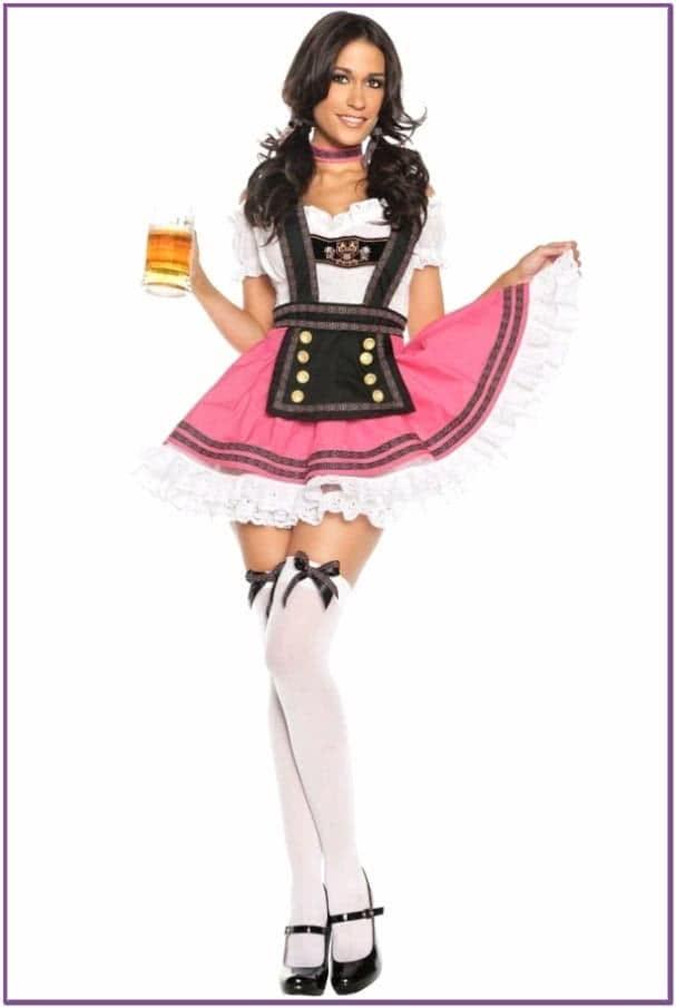 Костюм баварской официантки розовый
