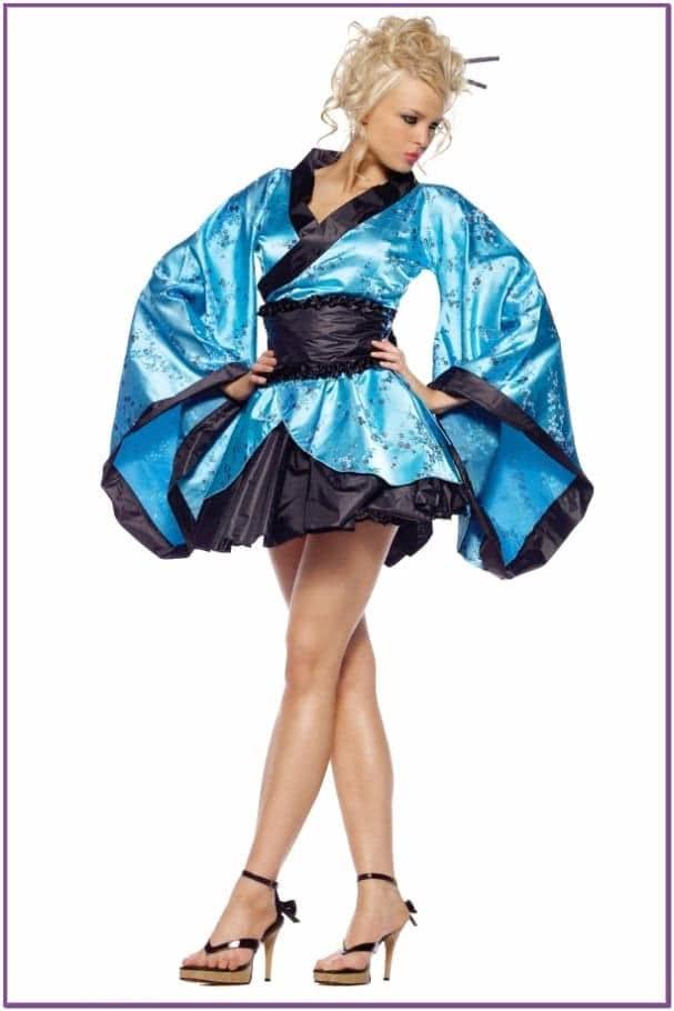 Костюм Загадочной Гейши в голубом кимоно