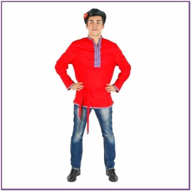 Красная льняная косоворотка