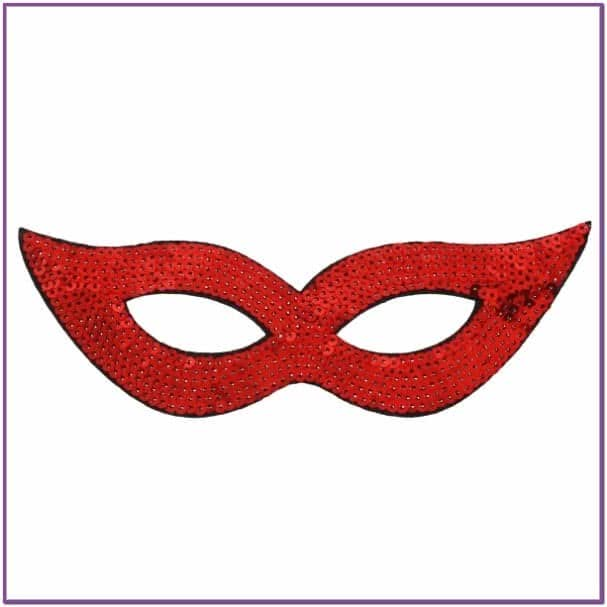 Красная маска на глаза с пайетками