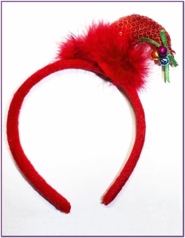 Красный ободок с мини-колпаком