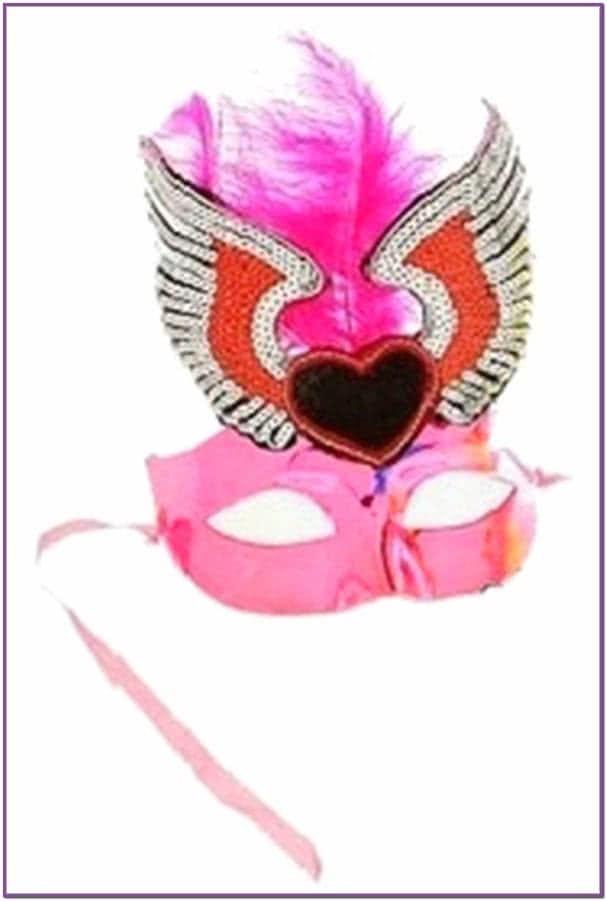 Маска розовая с перьями и сердцем