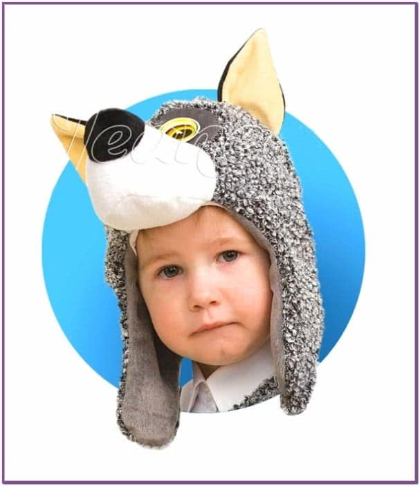 Меховая шапочка-маска Волчонка