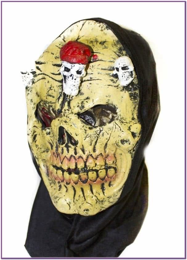 Желтая латексная маска черепа