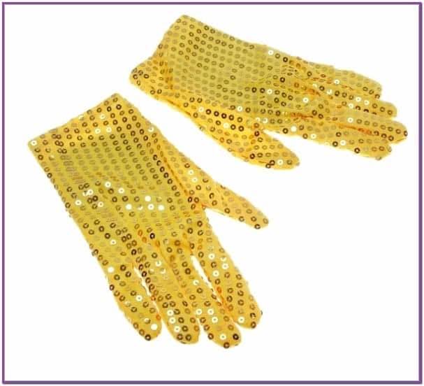 Желтые блестящие перчатки