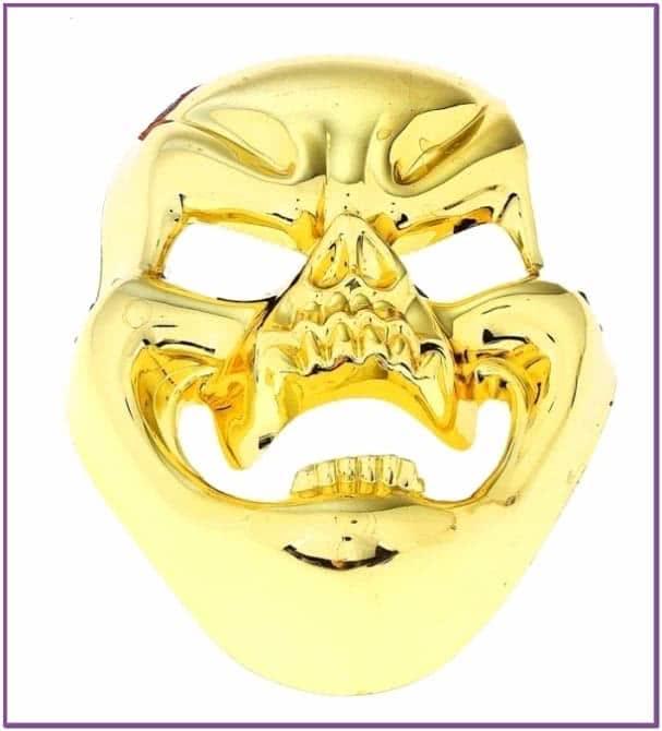 Золотистая маска смеющегося черепа